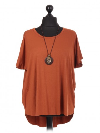 Italian High Low Top With Necklace