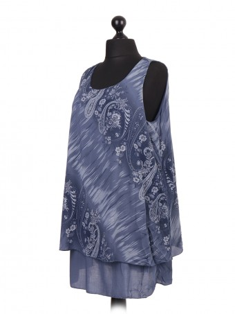 Italian Cotton Two Layered Printed Sleeveless Top