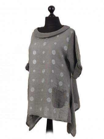 Italian Embroidered Linen Tunic Top