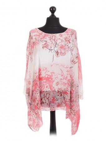 Italian Floral Blossom Chiffon Tunic