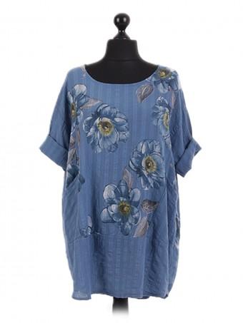 Italian Floral Pocket Oversized Tunic Top