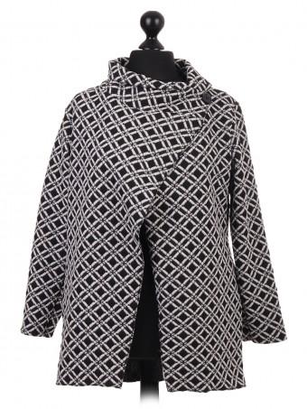 Italian Monochrome Wrap Over Coatigan Coat