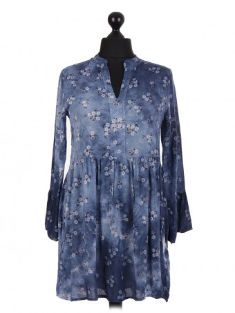 Italian V Neck Cold Dye Pleated Floral Print Top