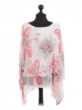 Italian Floral Chiffon Sleeve Tunic