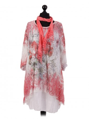 Italian Mesh Net Two Layered Dress With Scarf
