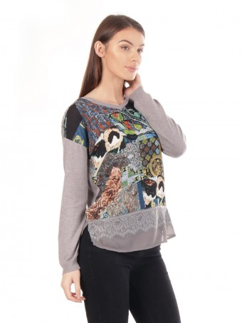 Patteren Print Lace Trim Jumper Top