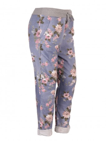 Plus Size Italian Floral Print Cotton Trousers