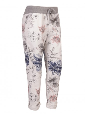 Plus Size Italian Floral Print Cotton Trousers With Side Pockets