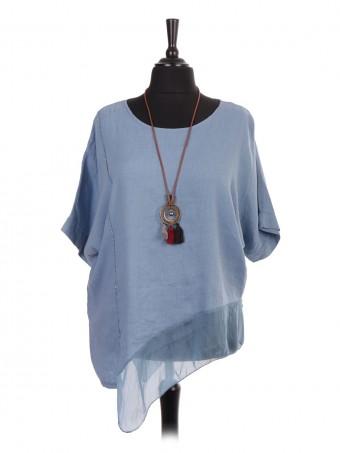 Plus Size Italian Linen Asymmetric Silk Hem Top With Necklace