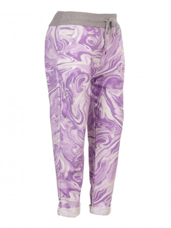 Plus Size Italian Marble Print Cotton Trousers With Side Pockets