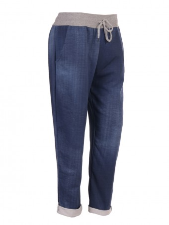 Plus Size Italian Plain Cotton Joggers