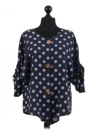 Italian Polka Dot Linen Button Top