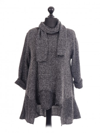 Swing Ribbed Tunic Top With Scarf
