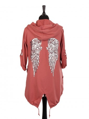 Italian Cotton Sequin Angel Wing Hooded Jacket With Side Pockets