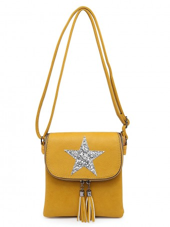 Sequin Star Cross Body Bag With Tassel Detail