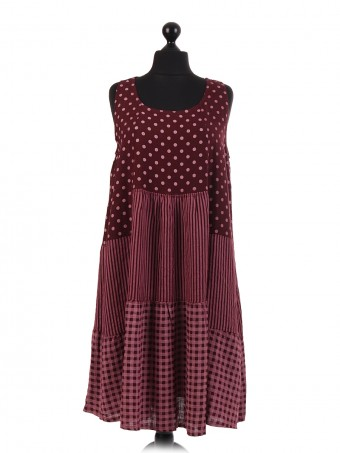 Italian spotty Linen Sleeveless Dress