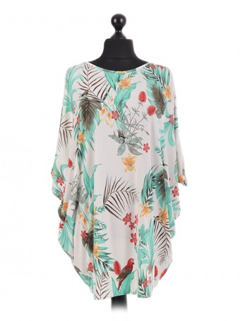 French Tropical Print Batwing Tunic