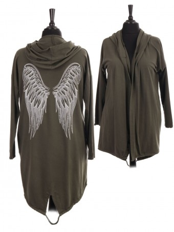 Italian Gathered Hem Angel Wing Back Hooded Jacket With Side Pockets