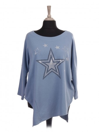 Italian Asymmetric Hem Diamante Stars Top