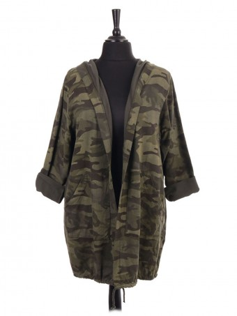 Italian Gathered Hem Camouflage Print Hooded Jacket With Front Pockets