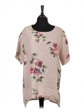 Italian Floral Linen High Low Side Split Top