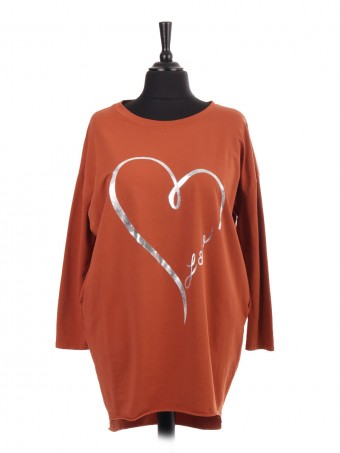 Italian Heart Printed Dip Hem Top with Side Pockets