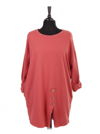 Italian Lagenlook Top With Button Panel And Side Pockets