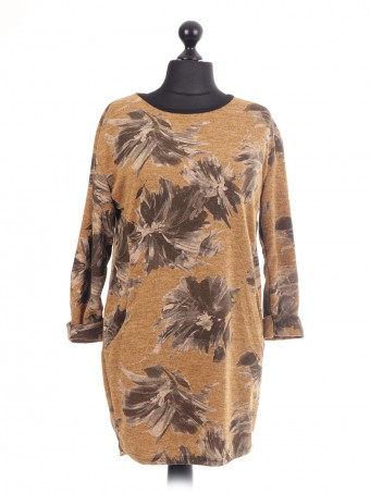 Italian Floral Print lagenlook top with side pockets