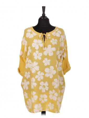 Italian Linen Floral Top With Sequin Detail Tie Neck