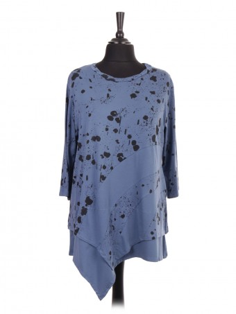 Italian Splash Print Assymetric Hem Tunic Top