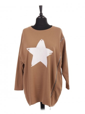Italian Star Print Top With Side Zip Detail