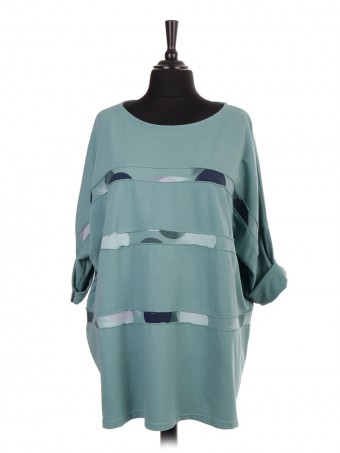 Italian Plus Size Printed Stripe Cotton Top
