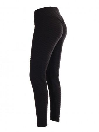 Women High Waist Ruched Butt Jacquard Leggings