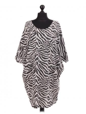 Zebra Print Oversized Baggy Tunic